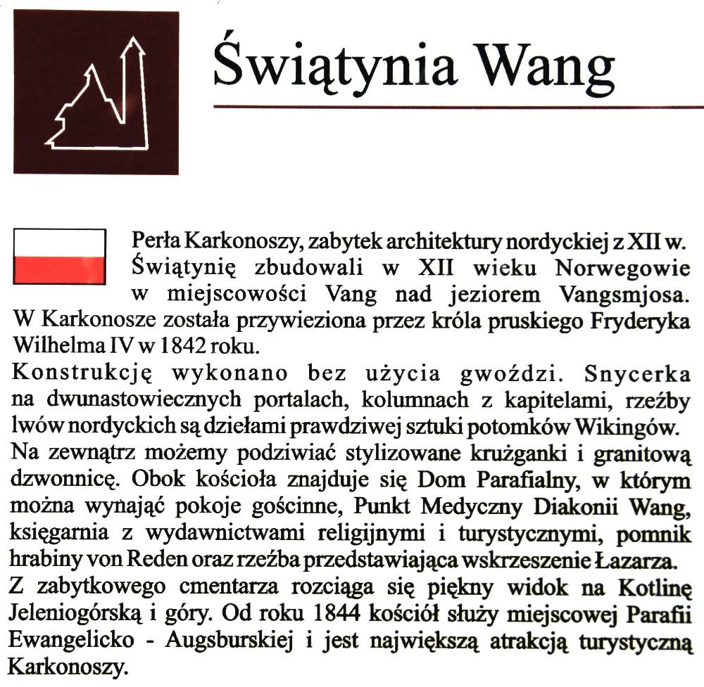 Karpacz - Informacja o Świątyni Wang